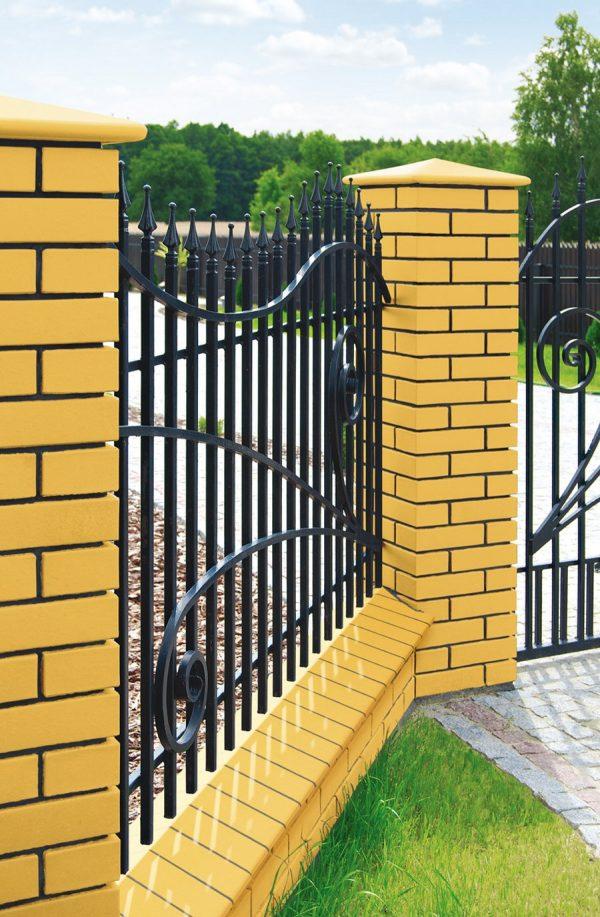Pfeilerabdeckung gelb für den Zaunbau