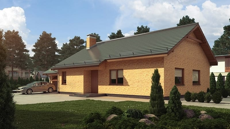 Hausfassade mit Handform Riemchen gelb braun und Winkelriemchen gelb braun Bernsteinsee