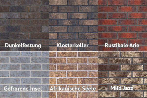 Muster der Klinkerriemchen aus der Kollektion Old Castle