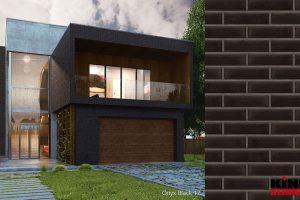Onyxschwarz Hausfassade