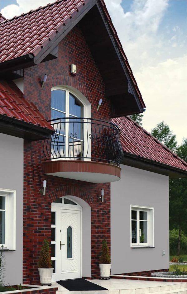 Hausfassade mit Klinkerriemchen Wild Wine