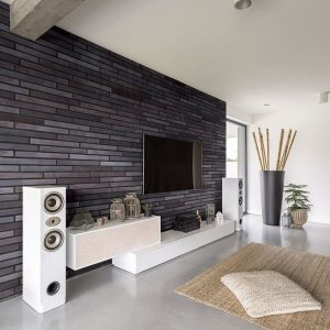 Wandverkleidung mit lange Klinker Riemchen und Winkelriemchen LF grau Obsidianschatten